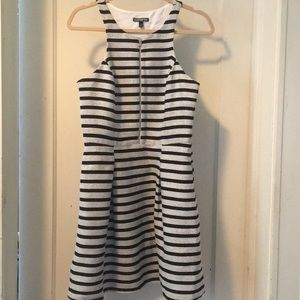 Express black and white stripe sleeveless dress